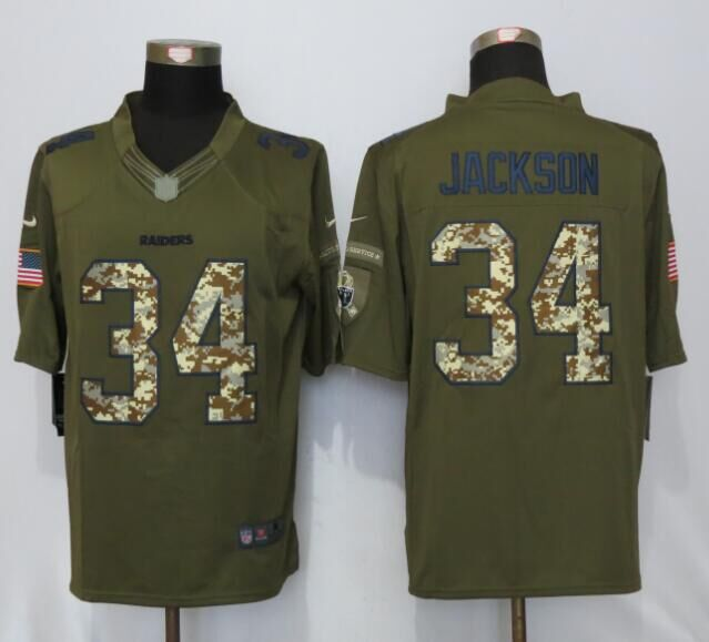 Oakland Raiders 34 Jackson Green Salute To Service New Nike Limited Jersey