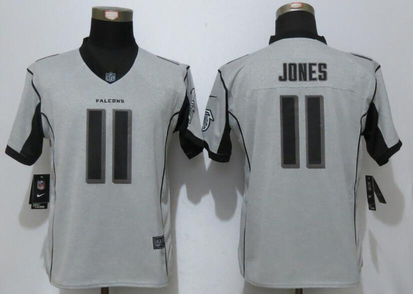 Women New Nike Atlanta Falcons 11 Jones Nike Gridiron Gray II Elite Jersey