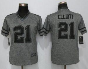 Womens Dallas Cowboys 21 Elliott Gray Stitched Gridiron Gray New Nike Limited Jersey