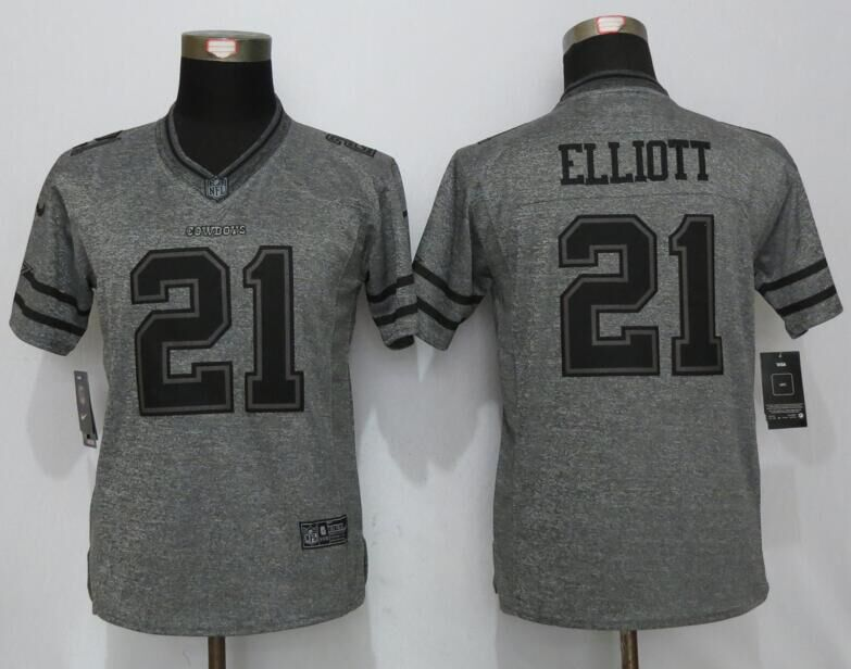 Womens Dallas Cowboys 21 Elliott Gray Stitched Gridiron Gray New Nike Limited Jersey