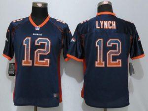 Womens Denver Broncos 12 Lynch Drift Fashion Blue NEW Nike Elite Jerseys