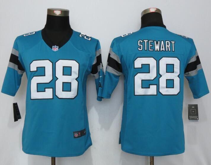 Womens Nike Carolina Panthers 28 Stewart Blue Limited Jerseys
