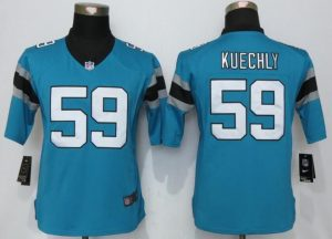 Womens Nike Carolina Panthers 59 Kuechly Blue Limited Jerseys