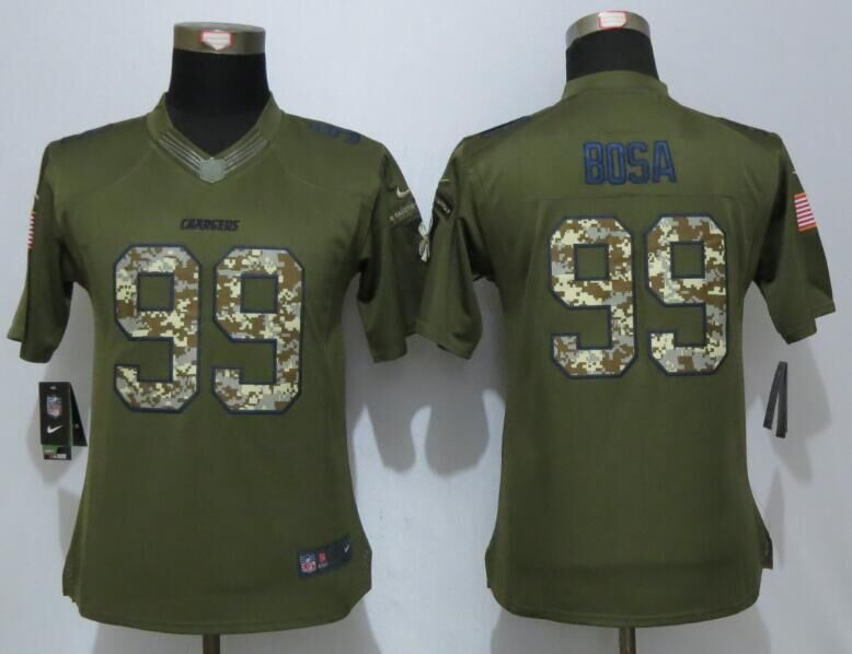 Womens San Diego Chargers 99 Bosa Green Salute To Service New Nike Limited Jersey