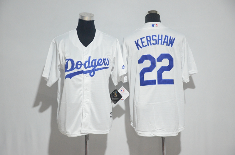 Youth 2017 MLB Los Angeles Dodgers 22 Kershaw White Jerseys