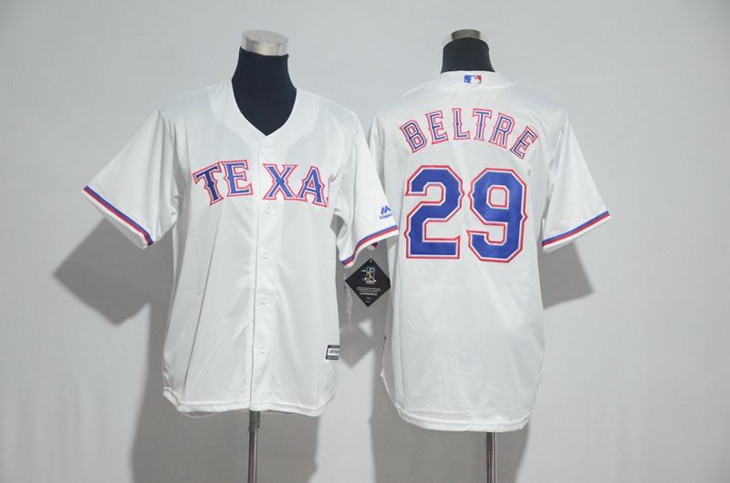 Youth 2017 MLB Texas Rangers 29 Beltre White Jerseys