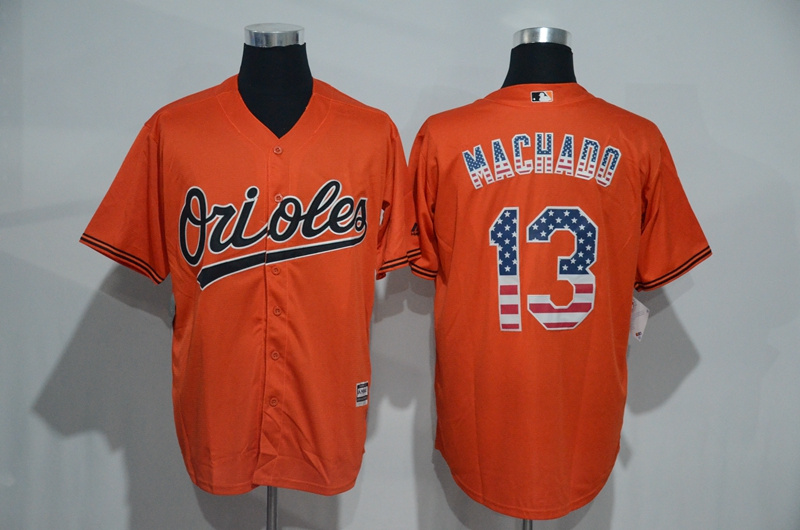 2016 MLB Baltimore Orioles 13 Manny Machado Orange USA Flag Fashion Jerseys