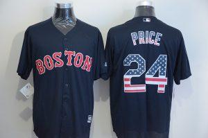 2016 MLB Boston Red Sox 24 Price Blue USA Flag Fashion Jerseys