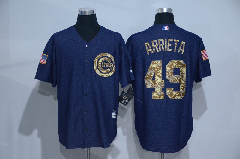 2016 MLB Chicago Cubs 49 Arrieta Cowboy blue camouflage