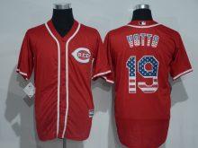 2016 MLB Cincinnati Reds 19 Votto Red USA Flag Fashion Jerseys