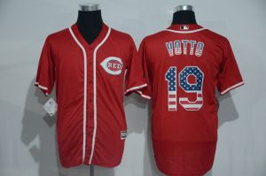 2016 MLB Cincinnati Reds 19 Votto Red USA Flag Fashion Jerseys