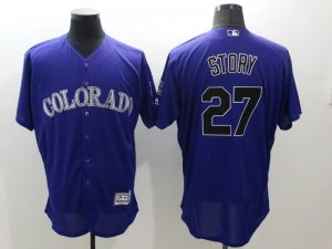 2016 MLB FLEXBASE Colorado Rockies 27 Story Purple Jersey
