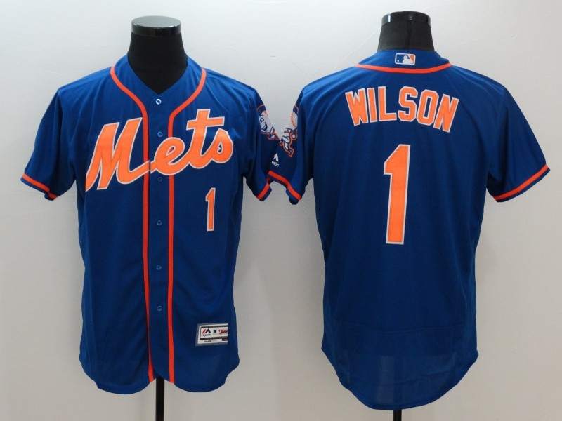 2016 MLB FLEXBASE New York Mets 1 Wilson Blue Jersey
