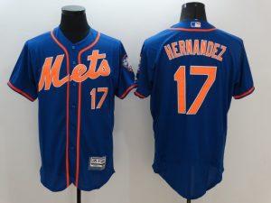 2016 MLB FLEXBASE New York Mets 17 Hernandez Blue Jersey