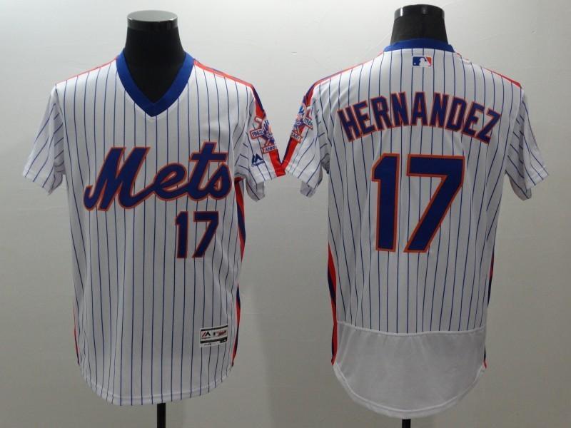 2016 MLB FLEXBASE New York Mets 17 Hernandez white throwback jerseys