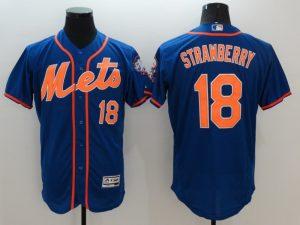 2016 MLB FLEXBASE New York Mets 18 Strawberry Blue Jersey