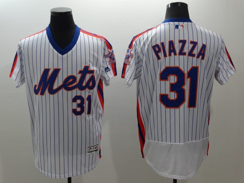 2016 MLB FLEXBASE New York Mets 31 Piazza white throwback jerseys