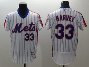 2016 MLB FLEXBASE New York Mets 33 Harvey white throwback jerseys
