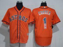 2016 MLB Houston Astros 1 Correa Orange USA Flag Fashion Jerseys
