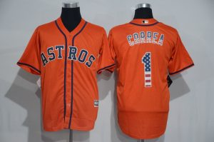 2016 MLB Houston Astros 1 Correa Orange USA Flag Fashion Jerseys