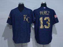 2016 MLB Kansas City Royals 13 Perez Cowboy blue camouflage