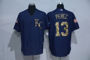 2016 MLB Kansas City Royals 13 Perez Cowboy blue camouflage