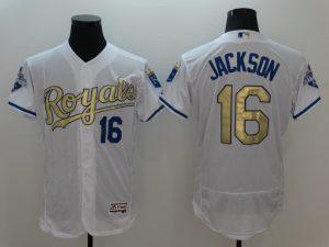 2016 MLB Kansas City Royals 16 Jackson White Platinum Elite Fashion Jerseys