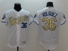 2016 MLB Kansas City Royals 36 Volquez White Platinum Elite Fashion Jerseys