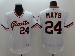 brand new f81b2 3124f MLB San Francisco Giants 24 Mays White Elite Throwback ...