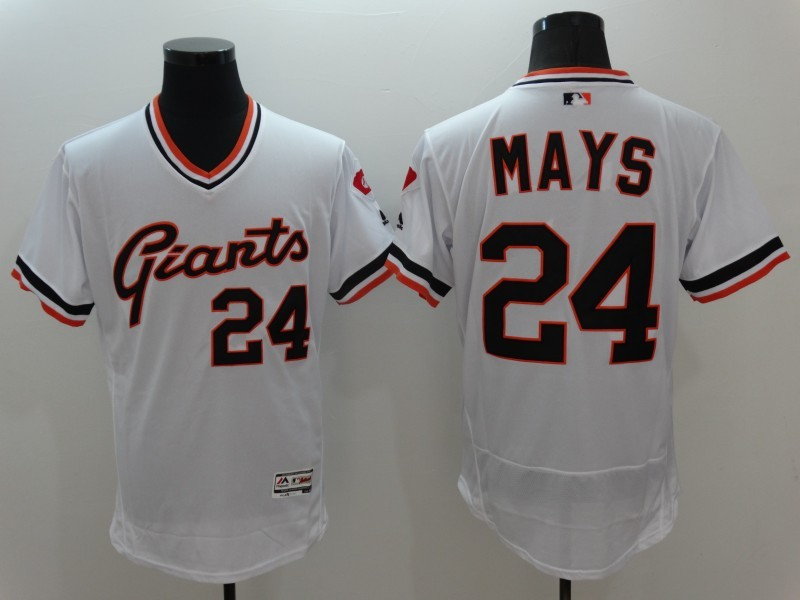 brand new 966ba 5540f MLB San Francisco Giants 24 Mays White Elite Throwback ...