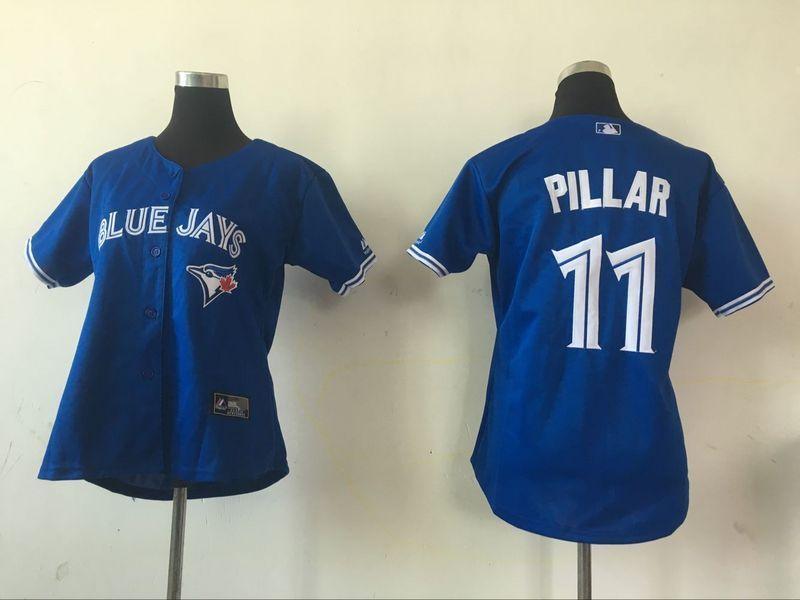 2016 MLB Womens Toronto Blue Jays 11 Kevin Pillar Blue Jersey
