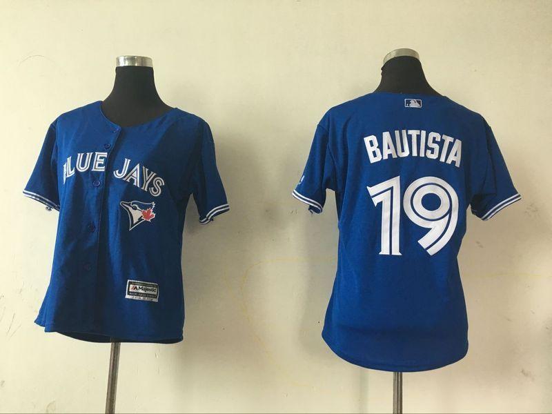2016 MLB Womens Toronto Blue Jays 19 Jose Bautista Blue Jersey