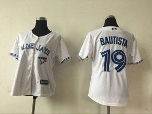 2016 MLB Womens Toronto Blue Jays 19 Jose Bautista White Jersey