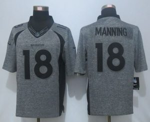 2016 NEW Nike Denver Broncos 18 Manning Gray Men's Stitched Gridiron Gray Limited Jersey