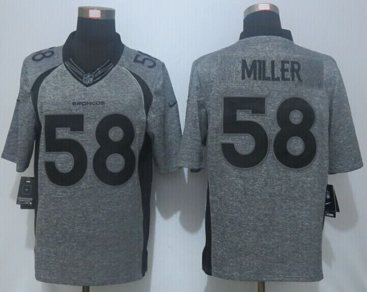 2016 NEW Nike Denver Broncos 58 Miller Gray Men's Stitched Gridiron Gray Limited Jersey