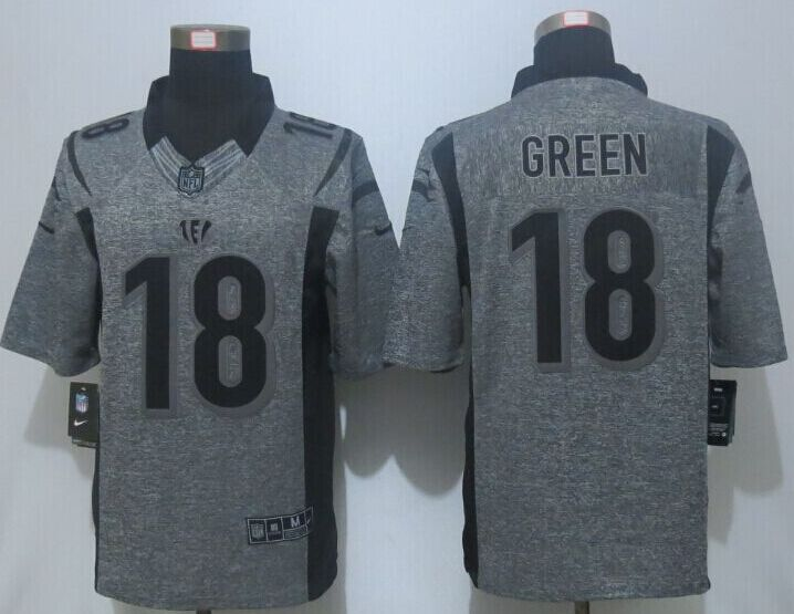 2016 New Nike Cincinnati Bengals 18 Green Gray Men's Stitched Gridiron Gray Limited Jersey