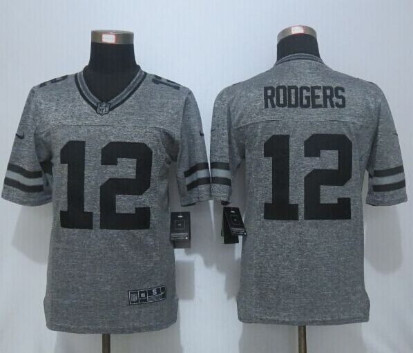 2016 New Nike Green Bay Packers 12 Rodgers Gray Men's Stitched Gridiron Gray Limited Jersey
