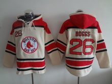MLB Boston Red Sox 26 Boggs cream Lace Up Pullover Hooded Sweatshirt