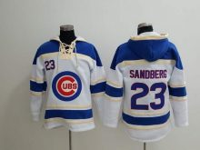 MLB Chicago Cubs 23 Sandberg white Lace Up Pullover Hooded Sweatshirt