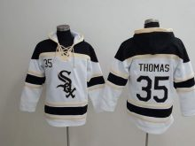 MLB Chicago White Sox 35 Thomas white Lace Up Pullover Hooded Sweatshirt