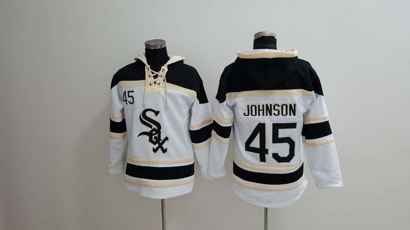 MLB Chicago White Sox 45 Johnson white Lace Up Pullover Hooded Sweatshirt