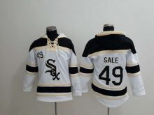 MLB Chicago White Sox 49 Sale white Lace Up Pullover Hooded Sweatshirt