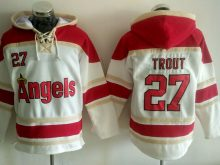 MLB Los Angeles Angels 27 Trout cream Lace Up Pullover Hooded Sweatshirt