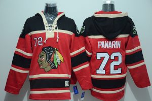 NHL Chicago Blackhawks 72 Panarin Red Lace Up Pullover Hooded Sweatshirt