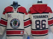 NHL Chicago Blackhawks 86 Teuvo Teravainen Cream Lace Up Pullover Hooded Sweatshirt