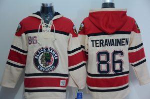 NHL Chicago Blackhawks 86 Teuvo Teravainen Cream Lace Up Pullover Hooded Sweatshirt