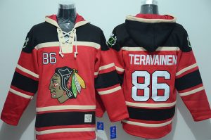 NHL Chicago Blackhawks 86 Teuvo Teravainen Red Lace Up Pullover Hooded Sweatshirt
