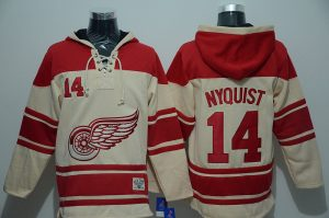 NHL Detroit Red Wings 14 Nyquist Cream Lace Up Pullover Hooded Sweatshirt