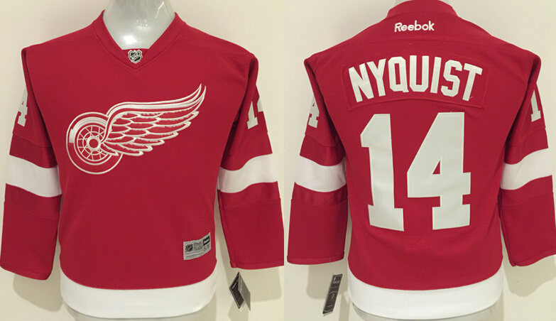 NHL Detroit Red Wings 14 Nyquist Red Kids 2016 Jerseys.