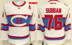 NHL Montreal Canadiens 76 Subban White Women 2016 Jerseys